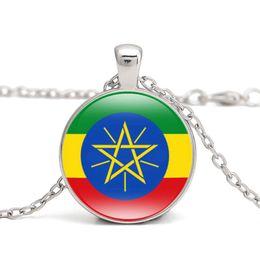 Wholesale Flag Link - Ethiopia Flag Pendant Necklace Eastern Africa Country Burundi Eritrea Djibouti Kenya Rwanda I Love Hometown Men Women Jewelry Wholesale