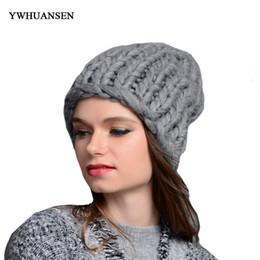 Wholesale Super Thick Girls - YWHUANSEN Handmade Knitting Women Beanies Winter Warm Super Thick Female Caps Crochet Braided Skullies Girls Wool Casquette