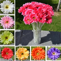 Wholesale Gerbera Daisies Silk Flowers - 2017 10pcs  Lot Gerbera Daisy Artificial Flower For Decoration Silk Sunflower Bouquet Flowers Wedding Garden Home Party Decor