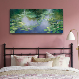 Wholesale water lily paint - Claude Monet Water Lilies 1906 printed Canvas painting Giclee art Wall art living room Unframed