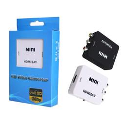 2019 vga cavi di colore Mini HD 1080P HDMI2AV Convertitore video da HDMI a RCA AV CVSB L R Supporto video NTSC PAL Uscita HDMI TO AV Adapter