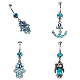 Wholesale Titanium Navel Piercing Jewelry - Stainless Steel Cute Owl Hamsa Hand Anchor Blue Crystal Navel Bars Silver Belly Button Ring Navel Piercing Jewelry G91L