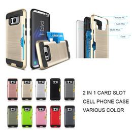 Wholesale Transparent Phone Cases For Sale - New Hybrid Slim Brushed Metal Design Case credit card for samsung galaxy s8 phone case hot sale
