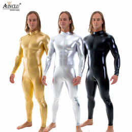 Trajes online-Ainclu Mens Black Shiny Catsuit Stretch Cremallera frontal Zentai Jumpsuit Muscle Leotards Mens Stage Performance Disfraces Bodysuits