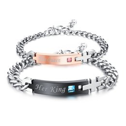 "Wholesale unique gifts love - Unique Gift for Lover ""His Queen""""Her King "" Couple Bracelets Stainless Steel Bracelets For Women Men Jewelry"