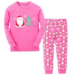 Argentina Venta al por mayor 2018 nueva llegada del bebé pijamas de Navidad pijamas niños niñas pijamas niños Papá Noel pijama establece niños rosa traje de pijamas de Navidad cheap xmas pyjamas sets Suministro