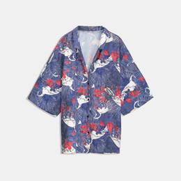 Novos animais sexy girls on-line-Mulheres Blusas de Impressão Floral 2018 Nova Queda Pulôver Animal Planta Botão Geométrica Club High Street Girl Moda Sexy Camisas Tops