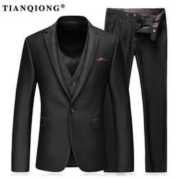 Черные платья онлайн-TIAN QIONG Men Slim Fit Suit British Wool Casual Wedding Dress Blazer Men One Buon Black Suit Men Clothing(Jacket+Pant+Vest)
