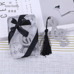 Wholesale wholesale novelty bookmarks - Music Note Alloy Bookmark Novelty Ducument Book Marker Label Stationery allus wedding favors 20pcs