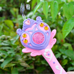 Wholesale Wholesale Toys Guns Machine - New Creative Fully-Automatic Bubble Machine Magic Wand Bubble Gun Toy Bubble With Music And Light Children Party Birthday Gift