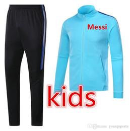 Wholesale teens suits - MESSI SUAREZ kids jacket KIT 2017 2018 teens soccer PIQUE 17 18 TOP QUALITYtraining suit tracksuit FOOTBALL Sweatshirt CHANDAL free shipping