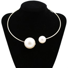 Wholesale Cuff Choker - Double Simulated Pearl Open Choker Necklace For Ladies Elegant Cuff Collar Necklace Statement Torques Party Fashion Jewelry For Women