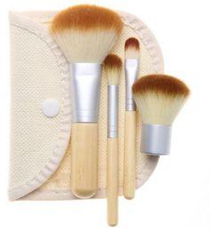 Wholesale Gunny Bags - HOTSALE 4PCS Bamboo Handle Makeup Brushes Cosmetics Tools Brushes Set Powder Blush Eyeshadow Brushes with Gunny Bag white free shipping