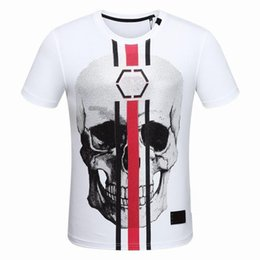 Wholesale Teenagers Casual Shirts - 2018 Newest Fashion Summer T Shirt Skulls Printing Cotton T-shirt Casual Men Short Sleeve O-Neck Tees Teenager Hot Tops D30