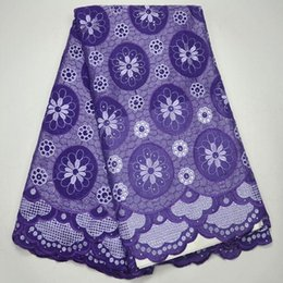 Wholesale Purple Voile African Lace - High Quality Swiss Voile Lace 2017 African Voile Swiss Lace Fabric African Swiss Cotton Voile Lace Fabric in Purple Color QV003