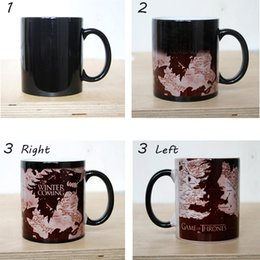 Wholesale Ceramic Games - Discoloration Cup Game Of Thrones Mug Winter Is Coming Wolf Maps Coffee Milk Color Change Mugs Ceramic Creative Surprised Gifts