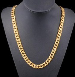 New Trendy Big Yellow Solid Gold Filled Chain Necklace Thick Mens Cool Jewelry For Dad Boyfriend Birthday Gift
