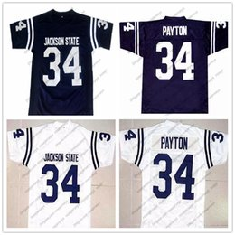walter blue Promotion NCAA Jackson State Tigers # 34 Walter Payton bleu marine rétro Jersey JSU CHI Football universitaire Blanc Orange Vintage Hommes Jeunesse Enfant Femmes S-4XL