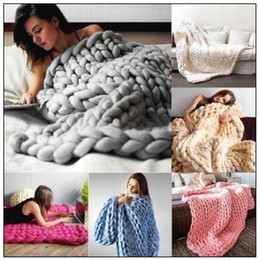 Wholesale Acrylic Blankets - 8 Colors 80*100cm Chunky Knit Blanket Merino Wool Handmade Blanket Sofa Air Condition Bed Weave Knitted Photography Blankets CCA8465 10pcs