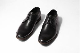 Wholesale Smart Shoes Mans - Lace-Up Men's Dress Oxfords Male Smart Casual Genuine Leather Pointed Toes Wear-Resisting Low Heel Solid Classical Dress Shoes