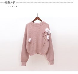 Wholesale Wool Ball Trimmer - Japanese women's clothing 2017 autumn and winter new hair ball ornament lotus leaf trim short loose sleeve head knitted sweater
