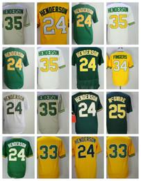 Wholesale Henderson Baseball - Oakland 24 Ricky Henderson 35 Rickey Henderson 25 Mark Mcgwire 33 Jose Canseco 34 Rollie Fingers Baseball Jerseys Stitched