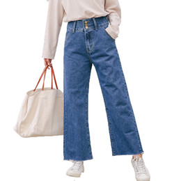 7756ab021a011 2018 Spring And Summer Plus Size High Waist Full Length Fashion Loose Denim  Boyfriend Women Jeans Straight Leg Pants