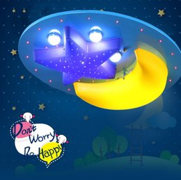 Wholesale Children Room Cartoon Lamps - LED boy bedroom cartoon lamp children room suction ceiling lamp creative Princess Room girl star moon lamp LLFA