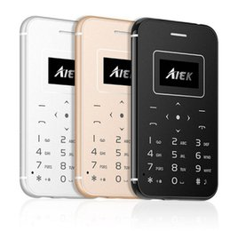 Wholesale thin bar mobile - Ultra Thin Card Mobile Phone AIEK X8 LED Low Radiation Mini Pocket Students Personality Children Kids Phone Quad Band Torch Bluetooth