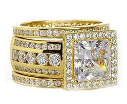 2019 anillos de boda de diamantes amarillo conjuntos Victoira 3 UNIDS Anillo de Alianza de Boda Joyería de Lujo Hecho A Mano Solitario 10KT Oro Amarillo Lleno de Princesa Corte Diamante Mujeres Anillo de Alianza de Boda conjunto anillos de boda de diamantes amarillo conjuntos baratos