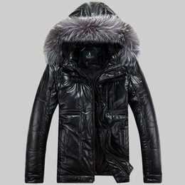 Wholesale Men Leather Down Jacket - Winter Jackets Coats Hooded Mens Down Cotton Parkas Snow Clothes Fur Collar Thicken Warm Overcoat PU Leather Jackets Windbreak