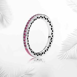 2019 anello rosa pandora Anelli a fascia in smalto blu verde rosa con scatola originale in cristallo per Pandora Heart love 925 Anello in argento per donna sconti anello rosa pandora