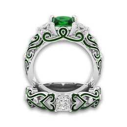 Wholesale womens rings sale - 2018 New Arrival Fashion Lady 2-in-1 Womens Green Engagement Wedding Band Heart Bride Ring Gift Amazing hot sale Mar 20