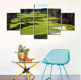 Argentina Arte de la pared 5 piezas Lámina de póster Campos de golf Imágenes Decoración de la pared del lienzo para Golf Club Green Wallpaper Pictures cheap wallpaper pieces Suministro