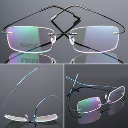66e2c3fd4e Mayitr 1pc Unisex Ultralight Rectangular Glasses Frame Flexible Rimless  Memory Metal Eyeglass Frames 4 Colors