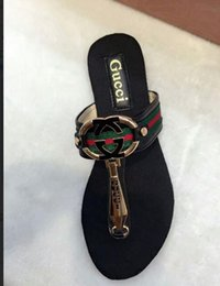 Wholesale Girls Sandal Shoes - JXW03 Flat Heel Flip Slippers Metal Buckle Decoration Shiny White Color Patent Leather Beach Flip Flops Sandals Shoes Women Sz 35-40