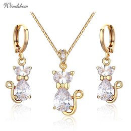 yellow stone jewelry sets Coupons - Cute Yellow Gold Color Kitten Cats Pave CZ Stones Pendants Necklaces Drop Earrings Jewelry Sets For Women Children Girls Kids