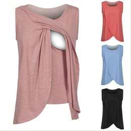 Wholesale pregnant nurse - Sleeveless breastfeeding teses pregnant women large Nursing Tank Tops Breast Feeding Vest Clothes Pregnant Women Nursing Shirts FFA012