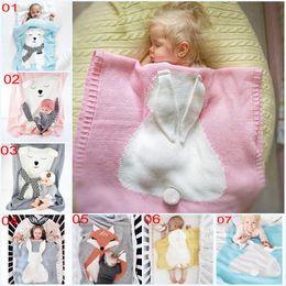 Mantas de lino online-Envelope Newborns Linens Ropa de cama para bebés Conejo / Oso / Manta de gato Lana caliente Muselina Swaddle Kids Toalla de baño para recién nacido