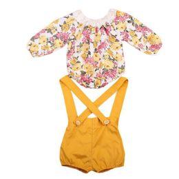 Kinderbodysuits online-Einzelhandel 2018 Frühling Sommer neue Mädchen Kleidung Sets Floral Baumwolle Langarm Body + Overall Outfits Kinder Kleidung 0-2Y KA210
