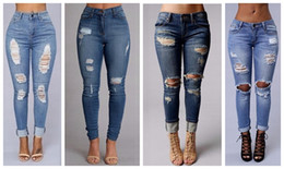 Wholesale Slim Ripped Girl - women's fashion sexy high waist pencil jeans casual blue ripped denim pants lady long skinny slim maxi jeans trousers