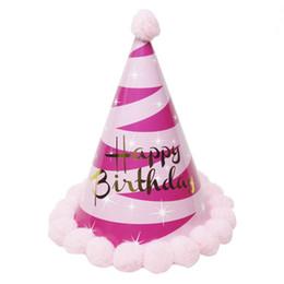 Wholesale candy happy birthday - Urijk Happy Birthday Party Hats Princess Crown Cap Happy Birthday Baby Kids Hair Accessory Decor Cap Adult Kids Birthday