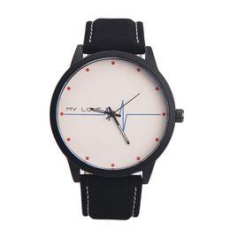 модные черные часы Скидка Женские часы Унисекс Кожа с принтом Аналоговый кварц Vogue Fashion Neutral Table Мужские часы Black White relogio masculino