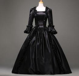 Vestiti di vestiario vittoriano online-Vendita calda Black Gothic Victorian Dress Periodo Rinascimentale Rococò Belle Prom Gowns Theatre Abbigliamento Costume Abiti