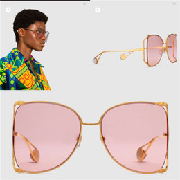 Wholesale large pink - New fashion designer sunglasses 0252 large frame round metal hollow frame top quality light-colored decorative sunglasses popular style
