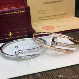 Wholesale Nail Bracelet Diamonds - Card home small 925 sterling silver nails full diamond bracelet goddess high round with the same shiny can open send girlfriend