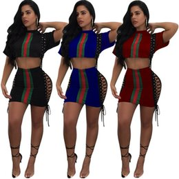 Wholesale women s piece tracksuit - Women Tracksuit Summer Daily High Streetwear Contrast Color Striped Printed Suits Short Hot Crop With Skinny Dresses