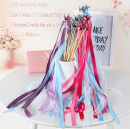 Wholesale Hearts Confetti - Star Crown Heart Fairy wand Lace ribbon streamers wedding wish magic wands wood stick bells confetti party prop decoration holiday gifts