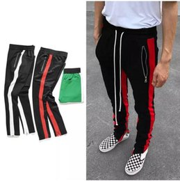 vintage striped pants Coupons - New black red green Colour FOG Justin Bieber style sweatpants men hiphop Slim Fit double striped track pants crawler Leg Zip Vintage Joggers