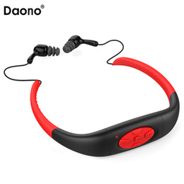 Wholesale Mp3 Waterproof Swimming Surfing - Daono 3M Waterproof Sport 4GB MP3 Player Headset with FM Radio Rechargeable mp3 Music Stereo Earphone For Swimming Surfing